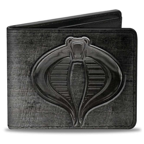 Gi Joe Cobra Logo + Cobra Weathered Gray Bi Fold Wallet - One Size Fits most