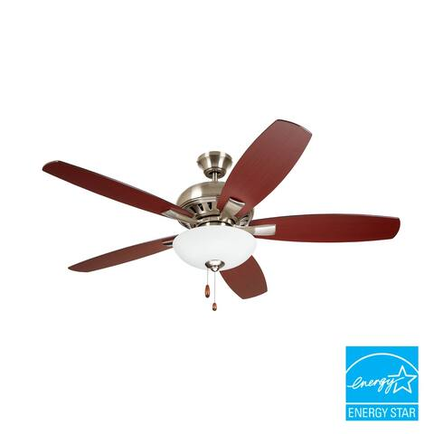 kathy ireland HOME 52 inch DC Builder ES Ceiling Fan with LED Light and Dual Mount Option with Reversible Blades