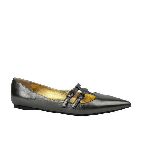 Bottega Veneta Women's Pointed toe Grey Metallic Leather Flats 443149