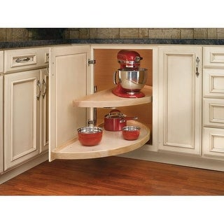 "Rev-A-Shelf 4WLS882-32-570 Wood Classic 32"" Diameter Half Moon Shaped Two Shelf Lazy Susan with Pivot and Slide Hardware"