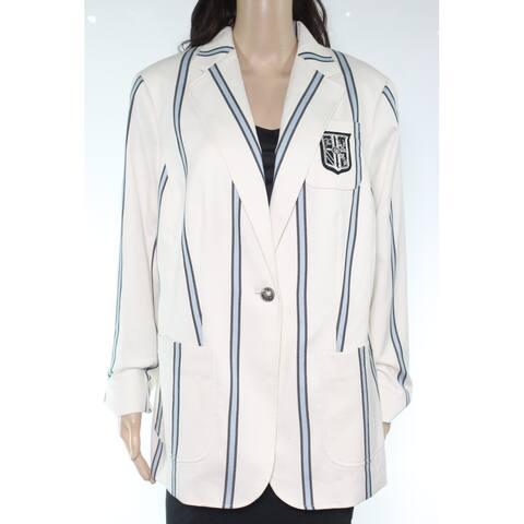Lauren by Ralph Lauren Womens Jacket White Ivory Size 14W Plus Striped