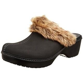 Crocs Womens Cobbler Fuzz Faux Fur Girls Clogs