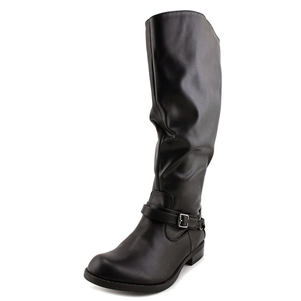 Easy Street Quinn Extra Wide Calf Women Round Toe Synthetic Black Knee High Boot