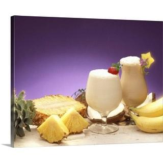 """Tropical drinks"" Canvas Wall Art"