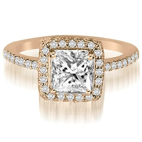 1.00 cttw. 14K Rose Gold Princess And Round Cut Diamond Halo Engagement Ring