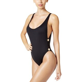 La Blanca Womens 2-Button Supportive Straps One-Piece Swimsuit