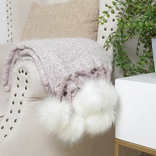 Link to FRESHMINT Faux Pom Pom Throw 60 x 50 Inch Similar Items in Blankets & Throws