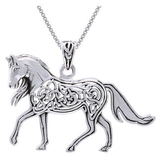 Sterling Silver Horse with Celtic Knot Work Design Necklace