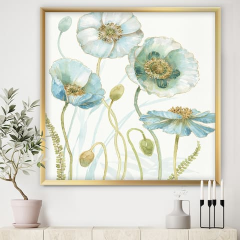 Designart 'Blue Cottage Flowers Drawing I' Farmhouse Framed Art Print