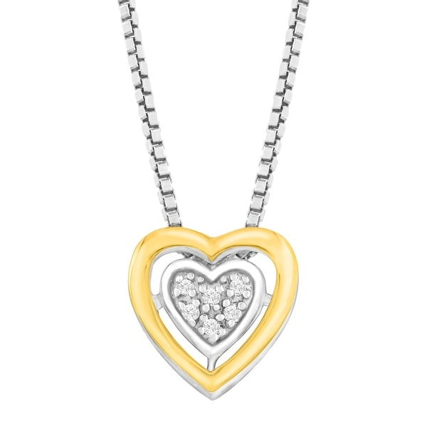 Petite Heart Pendant with Diamonds in Sterling Silver & 14K Gold
