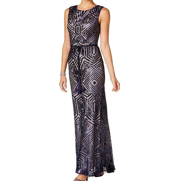 Vince Camuto NEW Blue Nude Sequin Embroidered Women\'s 2 Gown Dress ...