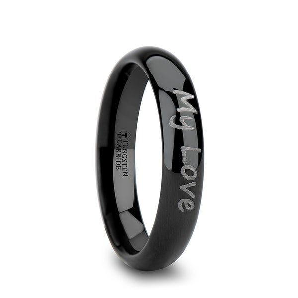 THORSTEN - Handwritten Engraved Domed Black Tungsten Ring Polished - 4mm