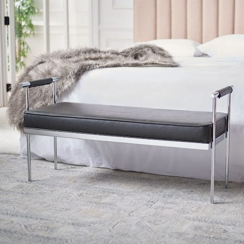 "SAFAVIEH Pim Glam Long Rectangle Cushion Bench with Arms - 48"" W x 17.3"" L x 24.8"" H"