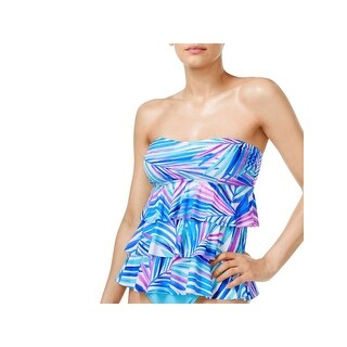 Island Escape Womens Floral Print Tiered Swim Top Separates