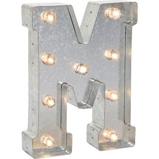 """Silver Metal Marquee Letter 9.875""""-M"""