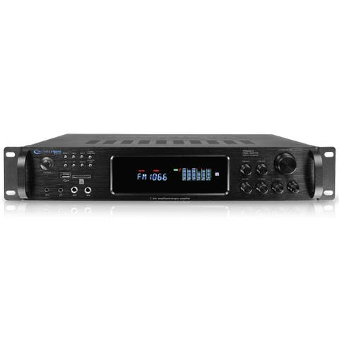 Technical Pro 1500W Hybrid Multi Channel Bluetooth Home Stereo Amplifier w/ USB/SD, Mic Inputs, AM/FM tuner, Wireless Remote