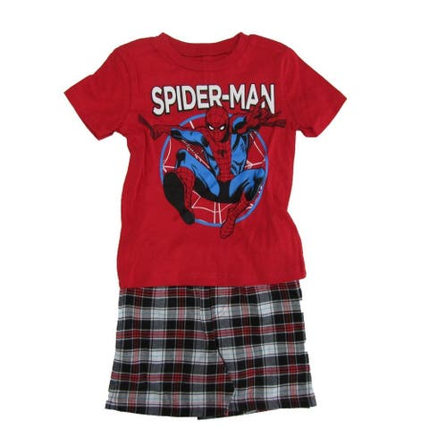 Marvel Little Boys Red Spider-Man Print T-Shirt 2 Pc Shorts Outfit