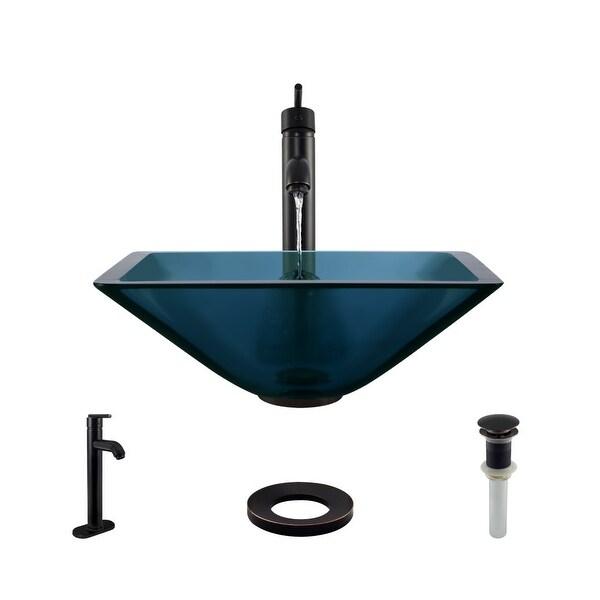 "Rene R5-5003-CEL-R9-7001 16-1/2"" Glass Vessel Bathroom Sink with Vessel Faucet, Sink Ring, and Vessel Pop-Up Drain"