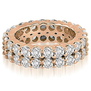 4.40 cttw. 14K Rose Gold Round Diamond Two Row Eternity Ring