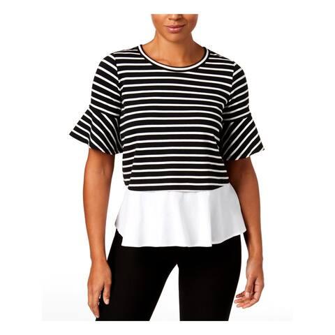 John Paul Richard Womens Pullover Top Striped Bell Sleeves