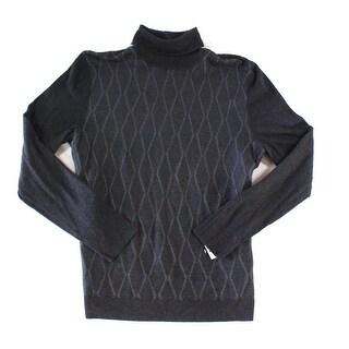 Alfani Charcoal Gray Mens Size Medium M Ribbed Turtleneck Sweater