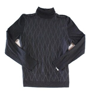 Alfani Gray Mens Size Large L Ribbed Turtleneck Cable-Knit Sweater