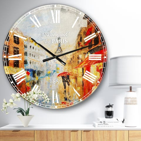 Designart 'Couple Walking in Paris' Sensual Large Wall CLock