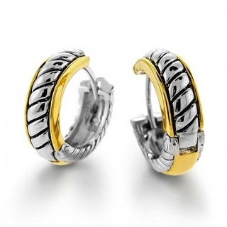 Bling Jewelry 2 Tone Gold Plated Cable Huggie Hoop Earrings Silver Plated