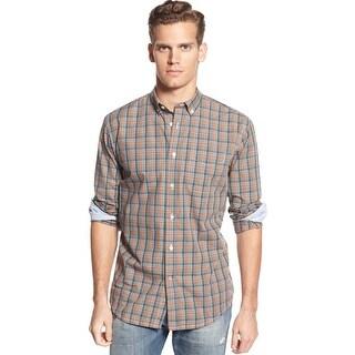 Tommy Hilfiger Classic Fit Mountain View Grey Plaid Button Down Shirt Medium M