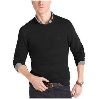 Izod Sueded Fleece Pullover Crewneck Sweatshirt Black Solid Small