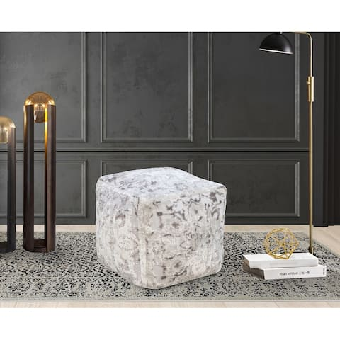 Chic Home Adara Ottoman Viscose Upholstered Two Tone Square Pouf