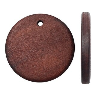 Smooth Wood Pendant, Flat Round Disc with 25mm Diameter, 6 Pieces, Dark Brown