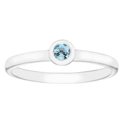 .925 Sterling Silver Bezel Set Round Genuine Aquamarine Gemstone Stackable Solitaire March Birthstone Ring