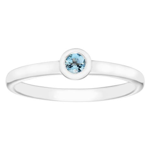 Boston Bay Diamonds .15 Tgw. Aquamarine Birthstone Sterling Silver Ring