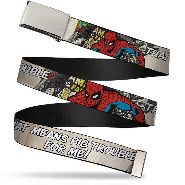 Blank Chrome Buckle Spider Man That Means Big Trouble For Me! Webbing Web Belt