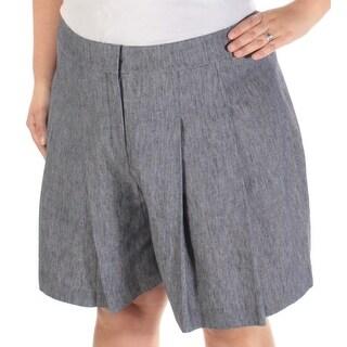 NINE WEST $79 Womens 1542 Navy Pleated Wide Leg Casual Short 16 B+B