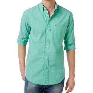 Tommy Hilfiger NEW Green Mens Size XL Dot-Pattern Button Down Shirt