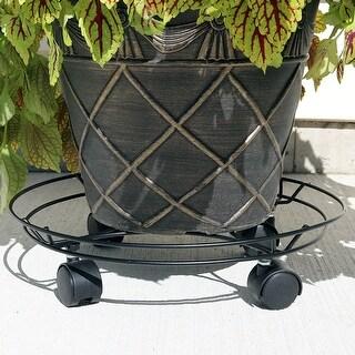 Sunnydaze Indoor Outdoor Spiral Metal Planter Caddy 14 Inch Diameter