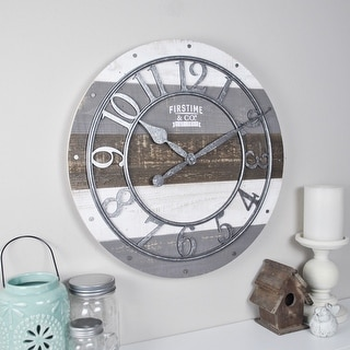 "FirsTime & Co.® Shabby Farmhouse Wood 16"" Wall Clock, American Crafted, Gray, Wood, 16 x 2 x 16 in - 16 x 2 x 16 in"