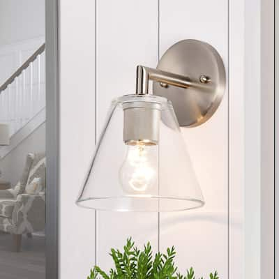 Clear Glass 1-light Armed Wall Sconce