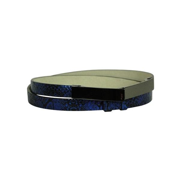 Nine West Women's Faux Snake Skin Leather Belt - Blue