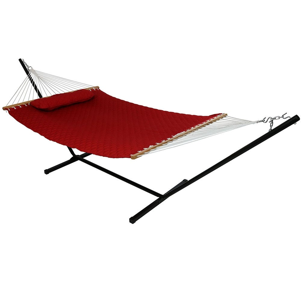 Sunnydaze Quilted Double Fabric 2-Person Hammock & Hammock Stand - Thumbnail 1