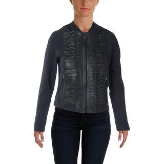 Elie Tahari Womens Max Leather Panel Crop Jacket - S