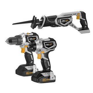 CX Tools Pro CXP20VDIR 20V Drill,Impact Driver,Reciprocating Saw Combo Kit - grey