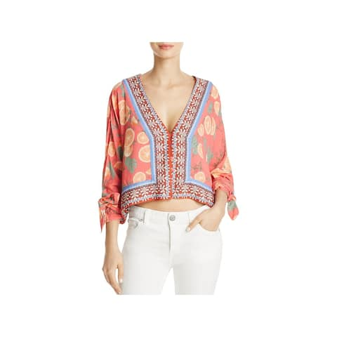 bd0855cce82 Free People Womens Freshly Squeezed Crop Top Floral Print Long Sleeves