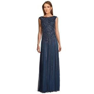 Aidan Mattox Cap Sleeve Bead Embellished Evening Gown Dress Riviera - 10