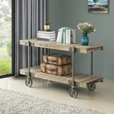 FirsTime & Co.® Oxford Farmhouse Factory Cart Console Table, American Crafted, Weathered Brown, Wood, 50 x 21.5 x 30 in