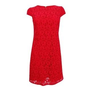 Tommy Hilfiger Women's Floral Lace Shift Dress - Scarlet