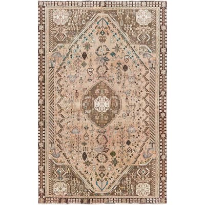 """Shahbanu Rugs Vintage Pure Wool Tan Color Persian Shiraz Distressed Bohemian Clean Hand Knotted Oriental Rug (5'6"""" x 8'8"""")"""
