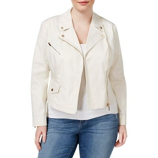 Rachel Rachel Roy Womens Plus Motorcycle Jacket Long Sleeves Solid